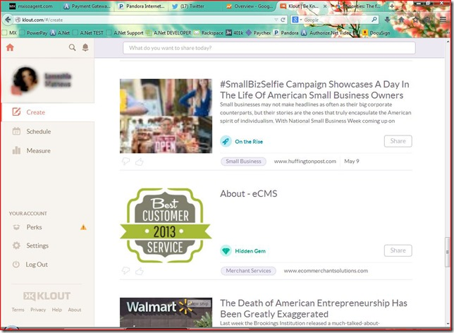 eCMS Klout Screen Capture